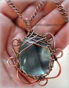 Blue Obsidian and copper pendant necklace