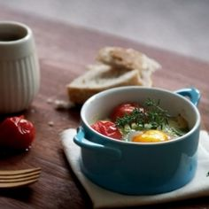 Baked eggs with romano beans, parmesan and roasted tomatoes