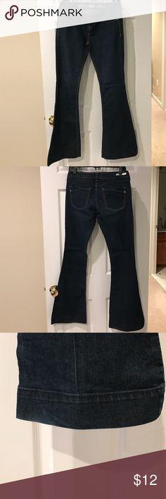 Express Stella Flare Denim Dark wash denim flare jeans with trouser cuff legs. Very good condition Express Jeans Flare & Wide Leg