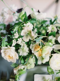 Botanical Wedding Flower Inspiration. Soft peach and cream garden roses, peony, hellebores and spirea for Ginny Au Workshops. Bows and Arrows Flowers. Heather Hawkins Photography.