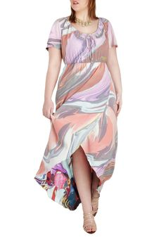 Beautiful! Swirl of Wisdom Dress in Plus Size | Mod Retro Vintage Dresses | ModCloth.com it would look great with a cognac color belt.