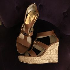 "MICHAEL KORSESPIDRELLE NEW! New, Never wornMICHAEL KORS ESPIDRELLE. Luggage brown color. Gold hardware. Gold signature plate center front. Back zipper. 4.75"" heel and 1"" front platform. All offers considered MICHAEL Michael Kors Shoes Espadrilles"