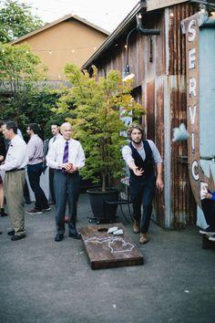 Custom Cornhole Boards | Real Seattle Retro Wedding | ShodaLove Photography | Georgetown Ballroom