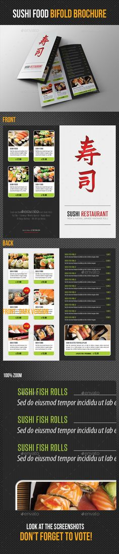 Sushi Restaurant Menu Bifold Brochure Template #design Download: http://graphicriver.net/item/sushi-restaurant-menu-bifold-brochure/11780943?ref=ksioks