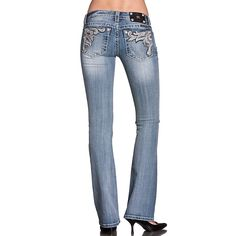 Miss Me Womens Embroidered Boot Cut Jeans