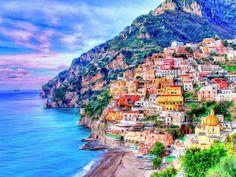 Amalfi Coast At Positano Painting by Dominic Piperata