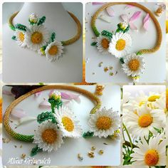 Beaded necklace for women  Chamomile Necklace  Beaded flowers  Beaded Jewelry  Daisies beaded  White flowers  Flowers Handmade  by BeadedjewelryGA