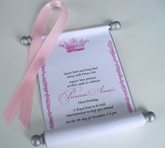 Royal princess birthday invitation scroll with by ArtfulBeginnings, $112.50 I can make theses way cheaper