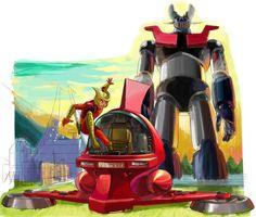 Puesto que el robot tiene una altura de 18 metros, el Dr. Jūzō Kabuto construyó una nave voladora, que planeando, impulsada por unas hélices colocadas horizontalmente ascendiera hasta la cabeza del robot, para alojarse allí. Una vez acoplada la nave en la cabeza del robot, éste queda activado y el piloto puede maniobrarlo.