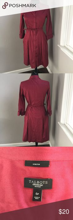 Talbots Belted Dress Stunning button down shirt dress by Talbots is a size 6P. This belted dress is in amazing condition and from a smoke free home. Talbots Dresses