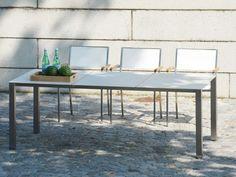 Jan Kurtz lux base Gartentisch Keramik und Edelstahl in weiß