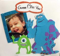 Zizo is traveling :( I, Mike & Sully really gonna miss him <3 #Handmade #card #miss #monsters.inc #mike #sully #monsters