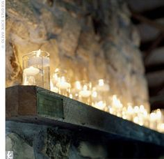 Wedding, Reception, Candle, Inspiration board, Light, Jars, Fireplace