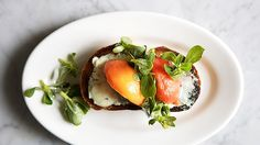 The best blue cheese for this toast is salty but creamy, not too sharp or funky.