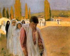 "Joaquim Mir Trinxet (1873-1940). ""Primera Comunió"". Óleo sobre tela. 64 x 77,5 cm. Colección particular. Barcelona."