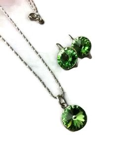 Bridesmaid gift set necklace and earrings swarovski elements peridot green sterling silver weddings mother of the bride prom - pinned by pin4etsy.com