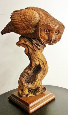 """Barn Owl Wood Carving """"Spying"""""""