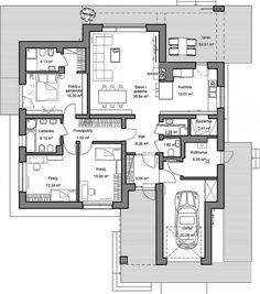 Rzut parteru projektu Domidea 2 FN Modern House Floor Plans, Bungalow House Plans, Bungalow House Design, Best House Plans, Dream House Plans, Small House Plans, Building Plans, Building A House, The Plan
