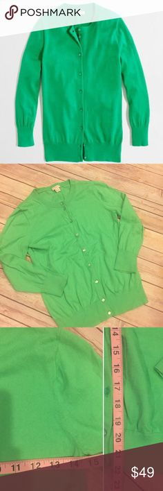 J.Crew Factory Clare Cardigan Sweater size small J.Crew Factory Clare Cardigan Sweater size small. EUC. Green. 100% cotton. Measurements are pictured. No trades no comments on pricing only offer button please. J. Crew Factory Sweaters Cardigans