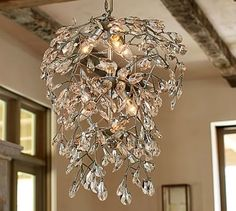 Bella Crystal Round Chandelier #potterybarn I would like this in an antique bronze finish for the entry stairwell.
