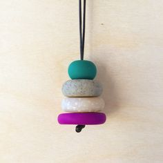 Polymer Clay Necklace | Beehive Handmade Necklace in Violet, Opal, Granite and Teal by minorthread on Etsy