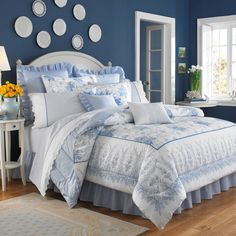 Beautiful blue walls, white trim and comforter set ~ Sophia by Laura Ashley - Bed Bath & Beyond