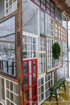 New York Glass Treehouse Nelson Treehouse Diy Greenhouse Plans, Window Greenhouse, Backyard Greenhouse, Old Windows, Recycled Windows, Vintage Windows, Tiny House Cabin, Small Buildings, Window Wall