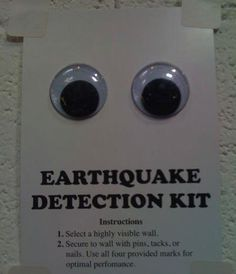 Earthquake Detection Kit. Who knew Virginians would need this!!