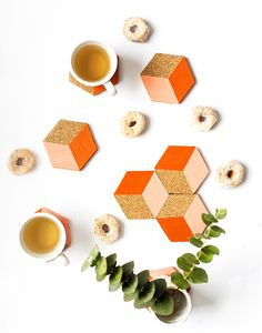 DIY Geometric Coasters - This DIY geometric coasters can be used individually or put together to create a geometric trivet for serving. It's the cutest puzzle you'll ever see!