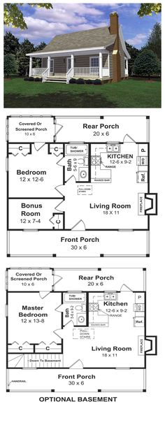 House Plan 59039   Total living area: 600 sq ft, 1 bedroom & 1 bathroom. Designed for a weekend get-a-way for the woods, the lake or the beach. Relax in all summer/winter long in this cottage featuring. everything you need for the ideal short vacation.
