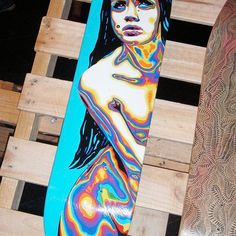 Love coming across pieces forgotten. 8 years ago!! The 2nd deck I ever painted for Manky Chops Sk8 of the art shows. Psychedelic Dreaming. Based on an image of @officiallymosh who inspired me a lot back then. I Basically just painted rainbow nudes. Now I'm kinda keen to paint my mannequin inspired by this. #flackback #skatedeck #mankychops #tepapa #psychedelic #acrylics