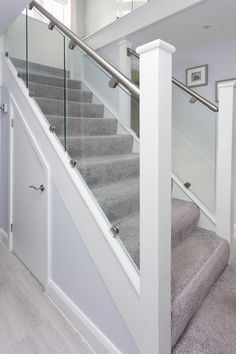DIY refurbish your internal staircase with a glass balustrade from StairFurb. All kits are bespoke made to your required dimensions and supplied ready to DIY install. Carpet Staircase, House Staircase, Staircase Railings, Staircase Ideas, Loft Railing, Interior Staircase, Bannister, Hallway Ideas, Stairways