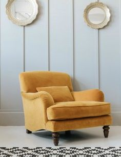 Mustard Velvet Armchair at Rose & Grey. This looks faded orange....like it more than the grey/blue.
