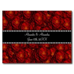 Wedding favors Red roses Postcard
