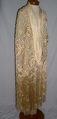 Magical... 1920-30's Heavily Embroidered Net Shawl / Jacket w Fringe