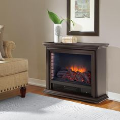 Freestanding Mobile Infrared Fireplace In Espresso (Brown)
