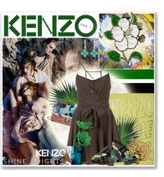 """Kenzo wrap around summer."" by vkmd ❤ liked on Polyvore"