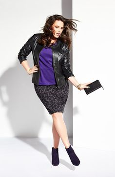 I love that Nordstroms is selling entire outfits.  Sejour Ponte Top, Leather Jacket & Pencil Skirt | Nordstrom