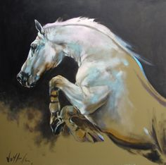 """""""Horse album-Over the edge"""", 48""""x 48"""", oil on canvas. SOLD. G-Clee prints on canvas available, 36""""x 36""""in very limited edition of 30 prints. Check www.voytekgallery.com"""