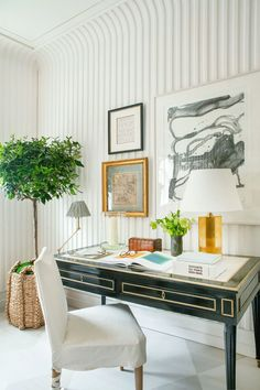 Home Office, Office Decor, Kips Bay Showhouse, Plaster Walls, Classic Interior, Modern Interior, Textured Wallpaper, Striped Wallpaper, Wall Treatments