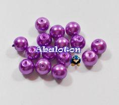 Perlas de cristal lacado color morado 8mm