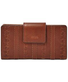 Fossil Emma RFID Leather Tab Clutch Wallet - Handbags & Accessories - Macy's