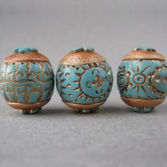 Polymer Clay Beads Turquoise and Off White with Gold Designs Set of Three