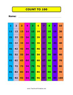 This free, printable count-to-100 chart is pretty and bold and would ...
