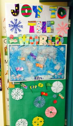 Holiday door decorating. Each little flag contains a holiday message written by students in their own first language.