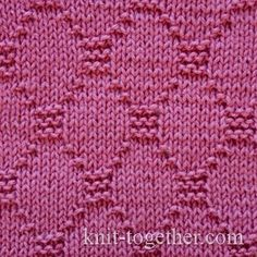 Diamond Stitch Pattern 2, knitting pattern chart, Squares, Diamonds, Basket Stitch Patterns