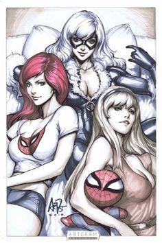Spidey's Girls Mary Jane, Gwen Stacy & Black Cat Comic Art