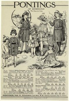 [Pontings of Kensington advertisement for children's clothing, England, 1910s.]