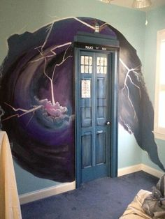 Doorway done up to resemble DR. WHO's famous time travel device.>> you mean the tardis. It's the TARDIS. The Tardis, Tardis Door, Tardis Bookshelf, Tardis Art, Tardis Blue, Dr Who, Painted Closet, Closet Paint, Closet Redo