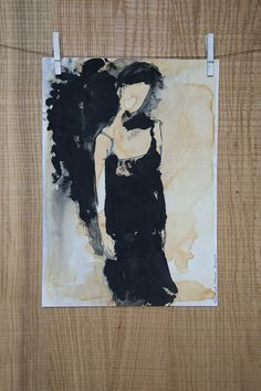 Quiet young woman in a little black dress. by ankaGilding on Etsy